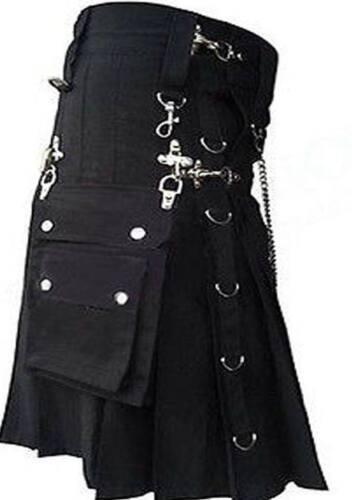 Scottish Men Black Gothic D Utility Kilt Custom Handmade 100/% Cotton With Chain