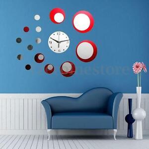 wanduhr rot spiegel kreis uhr wandaufkleber wandtattoo wohnzimmer ... - Wohnzimmer Uhren Modern