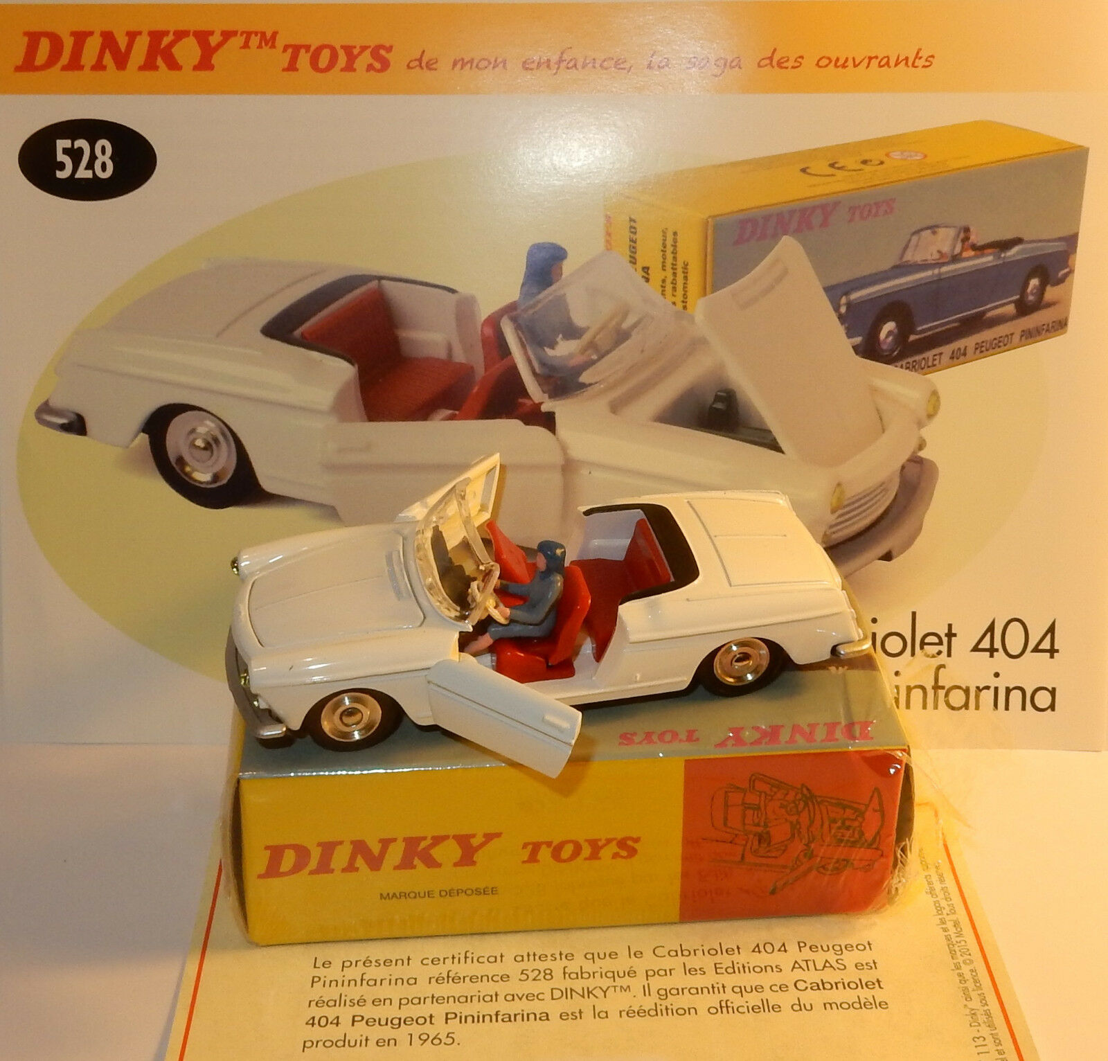 Dinky atlas peugeot 404 cabriolet pininfarina white ref 528 in box