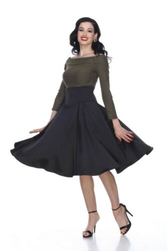 Bettie Page Annette Skirt Solid Black