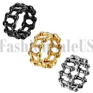 e6ed578f97a33 Details about Men's Punk Stainless Steel Motorcycle Biker Chain Link  Jewelry Ring Band SZ 7-15