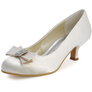 Brautschuhe Pumps Schuhe Hochzeit bequemer Absatz Satin weiß ivory//creme 36-41