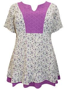 Eaonplus-Damen-Bluse-Hemd-Top-Plus-Groesse-18-20-22-24-26-28-30-32-reine-Baumwolle
