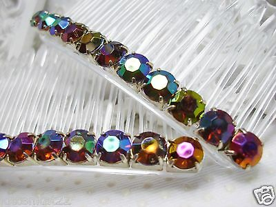 Side hair combs 4 mm Aurora Borealis Dark Amber Color Changing Rhinestones Side Hair Comb Pair Amber rhinestone combs prom combs