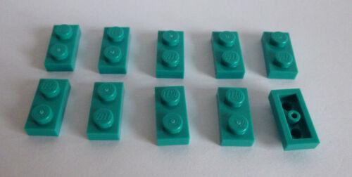 10  LEGO® 3023 City Friends,Basissteine flach in Brigth Blue Green 1x2 Neu.