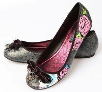Iron Fist Sugar Witch Skull Women's Vegan Black Ballet Flats Shoes