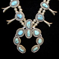 Old Pawn/Estate Navajo Squash Blossom Necklace, Turquoise & Sterling Silver