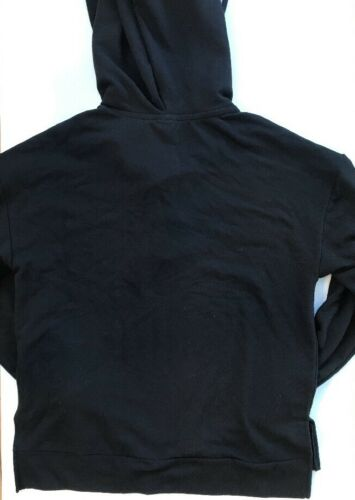 NWT VICTORIA/'S SECRET PINK SLOUCHY LACE UP PULLOVER HOODIE  BLACK SIZE XS S