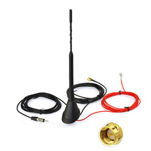 DAB-FM-AM-Car-Radio-Antenna-Aerial-with-Amplifier-Roof-Mount-Active-SMA-male-5m