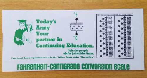 VINTAGE 1977 INSTANT U.S to METRIC CONVERSIONS SLIDE RULE CHART Army