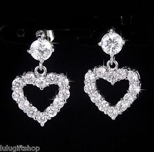 18K WHITE GOLD PLATED DANGLING DROP HEART EARRINGS W DIAMANTE SWAROVSKI CRYSTALS