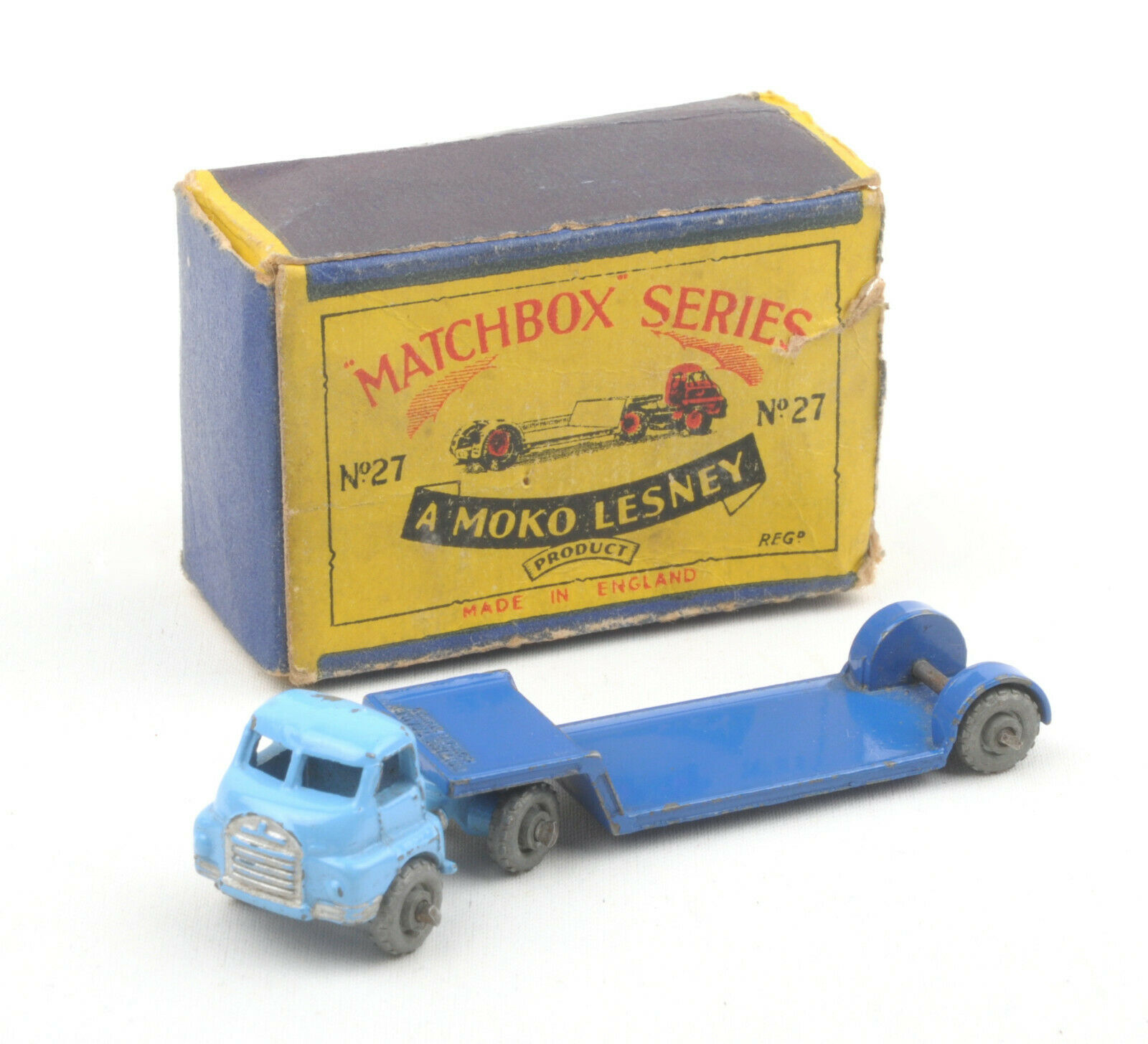 Matchbox Lesney 1-75 Series 27a Pale Dark Blau Bedford Low Loader  BOXED