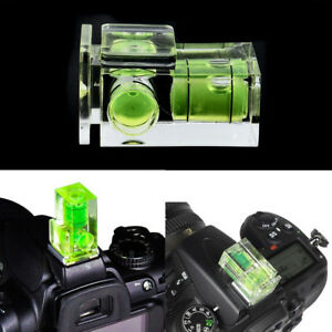 1 X Zapata dos Eje Doble Burbuja Nivel de Burbuja de Montaje para Cámara SLR DSLR Canon