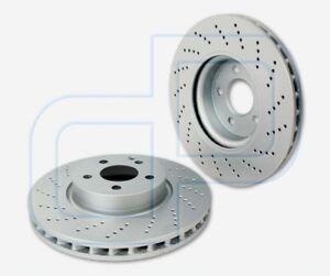 2-Bremsscheiben-BESCHICHTET-gelocht-MERCEDES-E-Klasse-W212-W204-vorne-Sportpaket