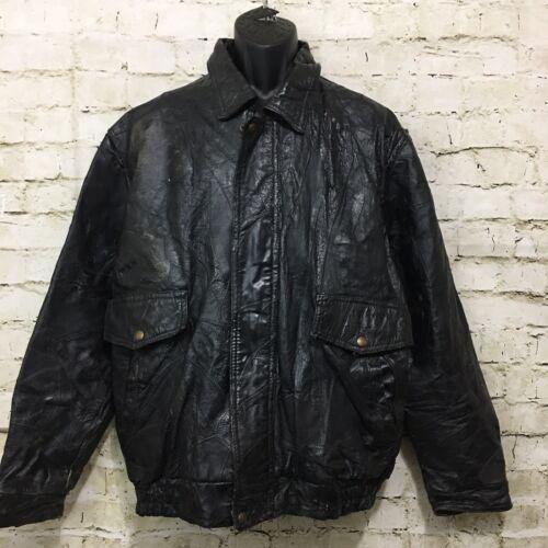 Vintage RoadPro Mens Size XL Black Pigskin Leather Biker Jacket