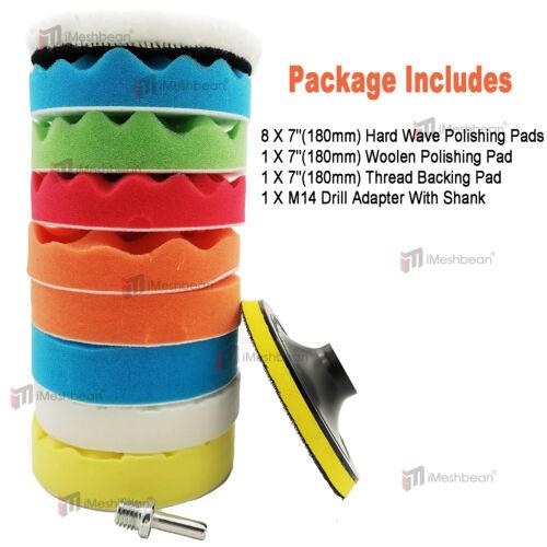 11Pc 7 In Polishing Pads Sponge Woolen Waxing Buffing Pad Kits M14 Drill Adapter