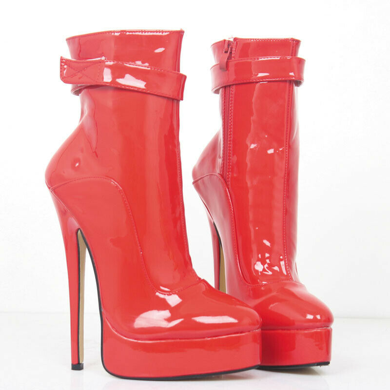 18cm Womens Side Zip Ankle Boots Very Very Very High Heel Casual Faux Patent Leather shoes 4160ee