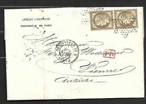FRANCE-Sc-62-PAIR-ON-COVER-PMKD-P-D-IN-RED-TO-AUSTRIA-FVF