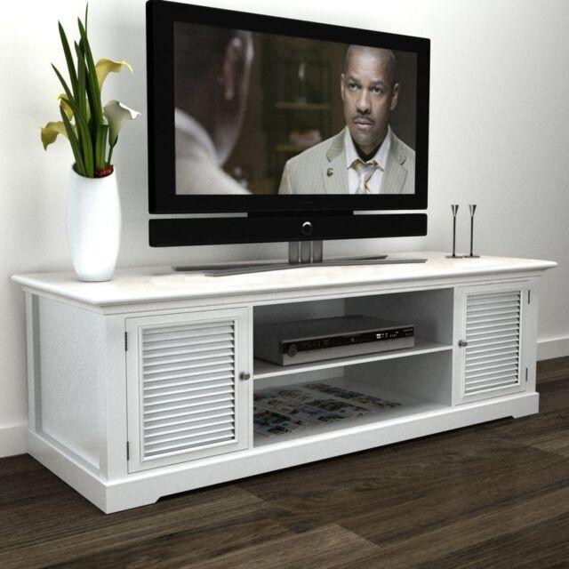 White Wooden Tv Stand Cabinet Storage Entertainment Center Modern