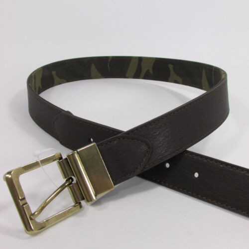 Banana Republic Men Camouflage Dark Brown Faux Leather Fashion Belt Metal Buckle