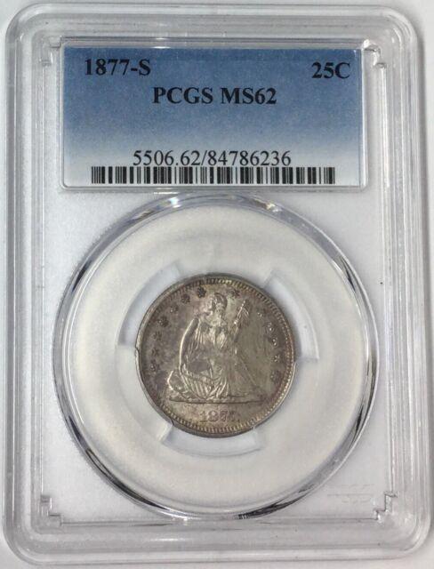 1877-S 25C Seated Liberty Quarter PCGS MS62 #T