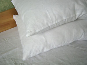Two-Linen-Pillowcases-100-Pure-Flax-Shams-White-Pillow-Slip-Cushion-Cover-Case