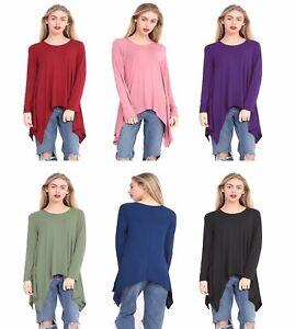Women-Hanky-Hem-Top-Ladies-Long-Sleeve-Hanky-Hem-Baggy-Oversized-Top-Sizes-8-26