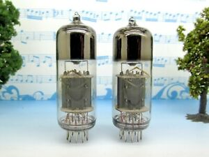 2x-6N6P-Foton-Gold-Grid-Square-getter-Matched-Pair-Tubes-1964-6H6n