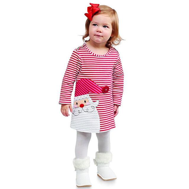 Toddler Baby Girls Santa Striped Princess Dress Christmas Ball Gown ...