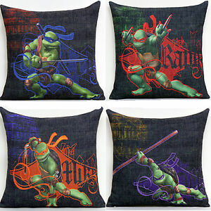 ... TMNT Teenage Mutant Ninja Turtle Pillow Case Cushion Covers 4TC  eBay