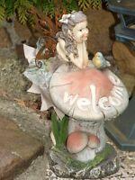 Fee,elfe,25cm,außen,garten,wetterfest,terrasse,balkon,feen,mädchen,pilze,welcome