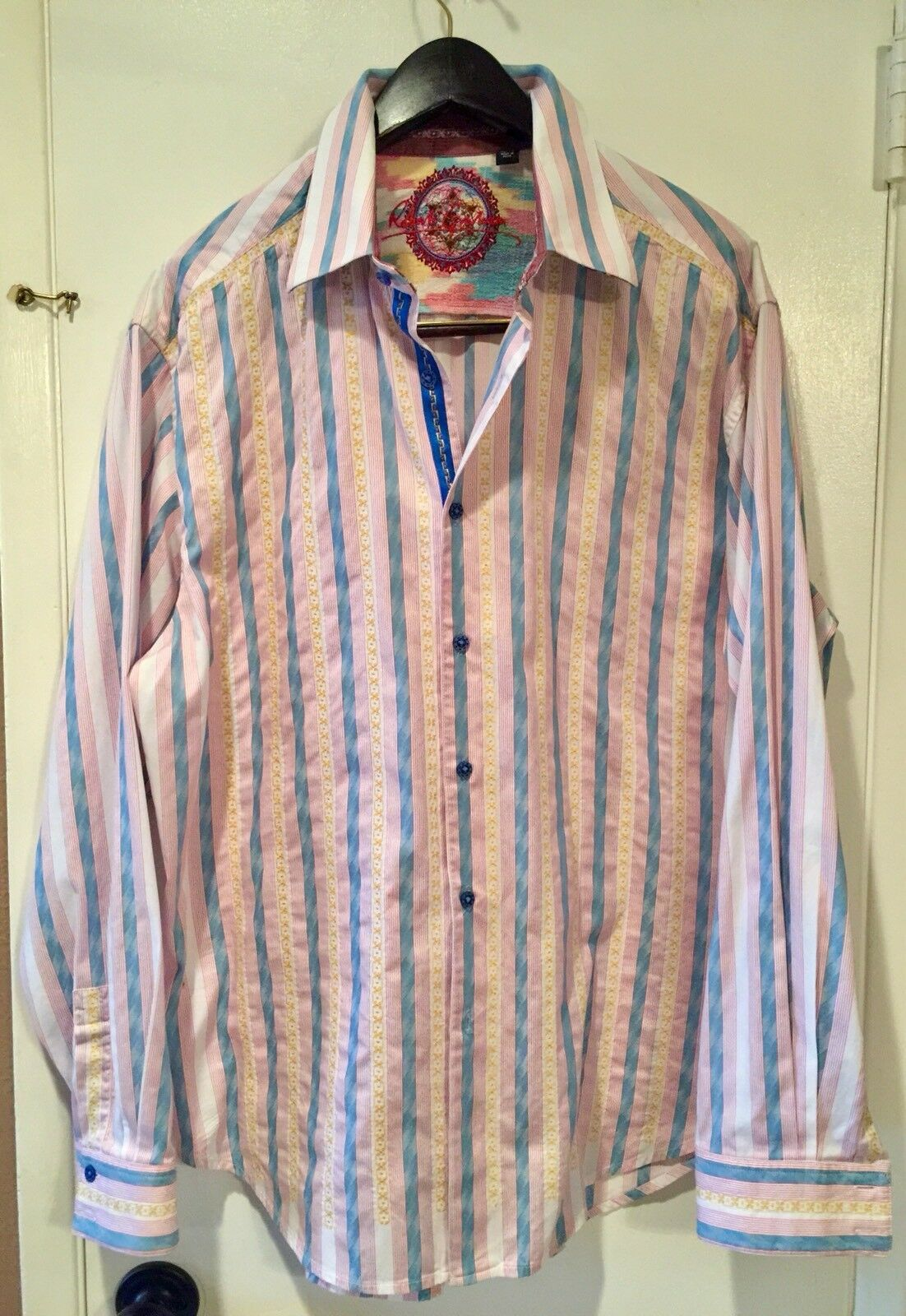Robert Graham Shirt Pink bluee Yellow Stripe with Embroidery and Flip Cuff XL