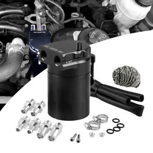 Oil Catch Tank Can Cylinder Aluminum Baffled Engine Reservoir Breather W// Filter