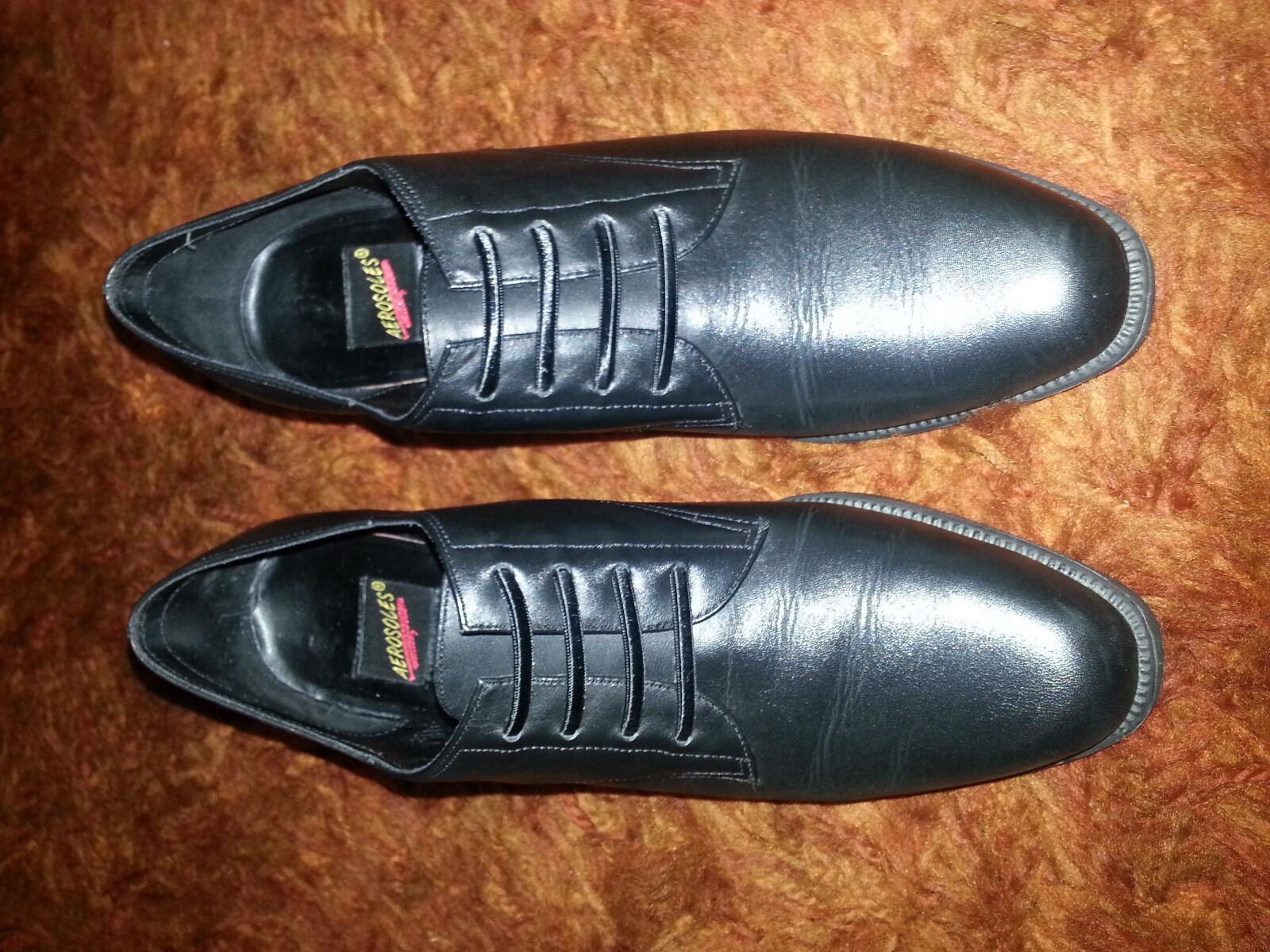 Aerosoles Mujer Mujer Mujer Zapatos Heely um en Cuero Negro entrega gratuita de 9B  clásico atemporal