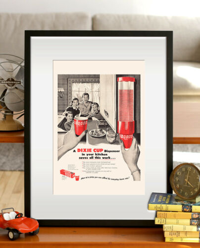 Retro Mid-Century Party Ad Vintage Kitsch Poster 1950/'s R RETRO Dixie Cup Ad
