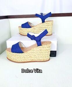 5a8fd3e830e Details about NWB Dolce Vita Dane Espadrille Platform Wedge Sandal Indigo  Linen Size 9.