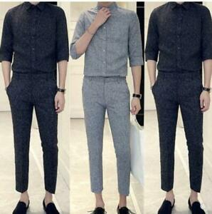 2pcs mens 3/4 sleeve tops cropped pant casual formal suits