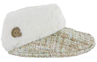 Acogedor Suave Imitación Piel Forrada Botines Caliente Slip on mujer botón Tobillo Zapatillas UK3-8