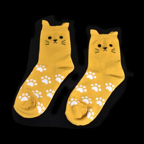 1Pair Women Lovely Cartoon Cat Footprints Pattern Casual Socks Cotton Tube Sock