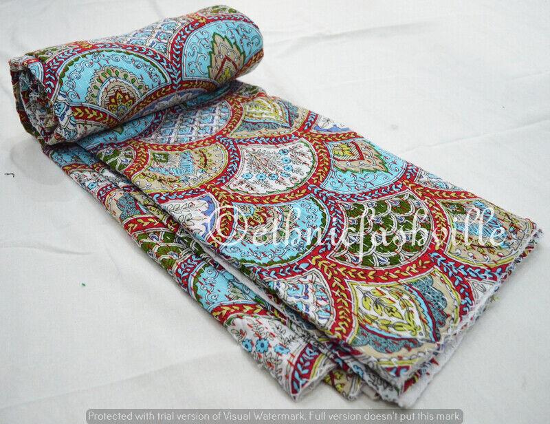 Indian Bett Startseite Blanket Startseitelet Cotton kantha Quilt Bettspread Handmade Bettding