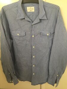 Mens-Colorado-Long-Sleeve-Button-Up-Shirt-Blue-and-White-Stripes-Size-Large
