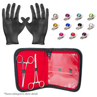Dermal Anchors Piercing Kit-2 Forceps 11 Dermal Gem Tops And Bottoms Gloves