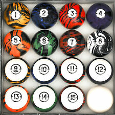 Dark Marble Classic Style Pool Table Billiard Ball Set Regulation Size & Weight