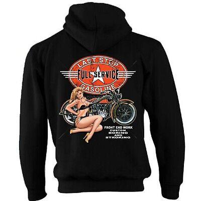 Biker Zip Hoodie Hoody Jacket Motorcycle Motorbike Bobber Chopper Service 164