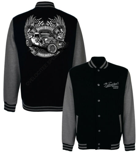 Velocitee Baseball Varsity Jacket Rock N Roll Greaser Hotrod Rockabilly W18737