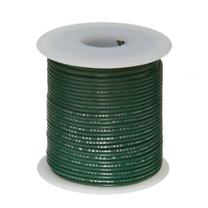 "18 AWG Gauge Stranded Hook Up Wire Green 25 ft 0.0403"" PTFE 600 Volts"