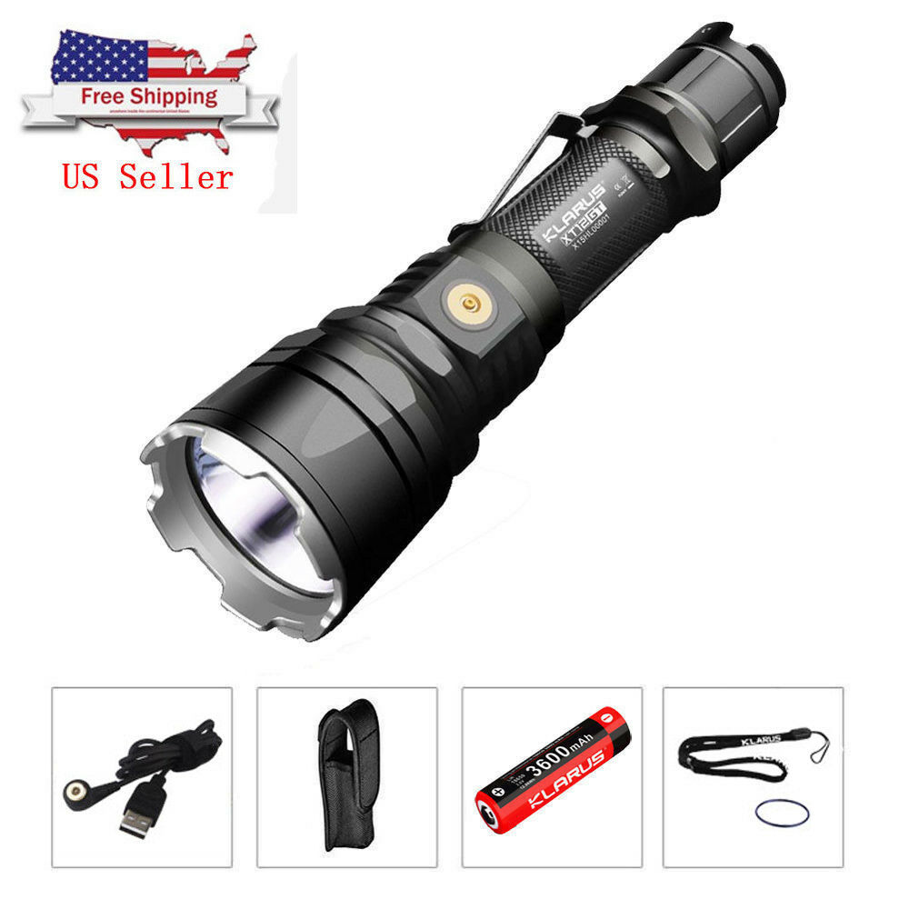 KLARUS XT12GT Tactical LED Flashlight USB Rechargeable  1600LM CREE XHP35 Light  hot