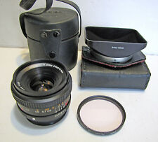 Vintage Konica Hexar AR 28mm 3.5 Wide Angle Manual Focus Camera Lens +Case Hood