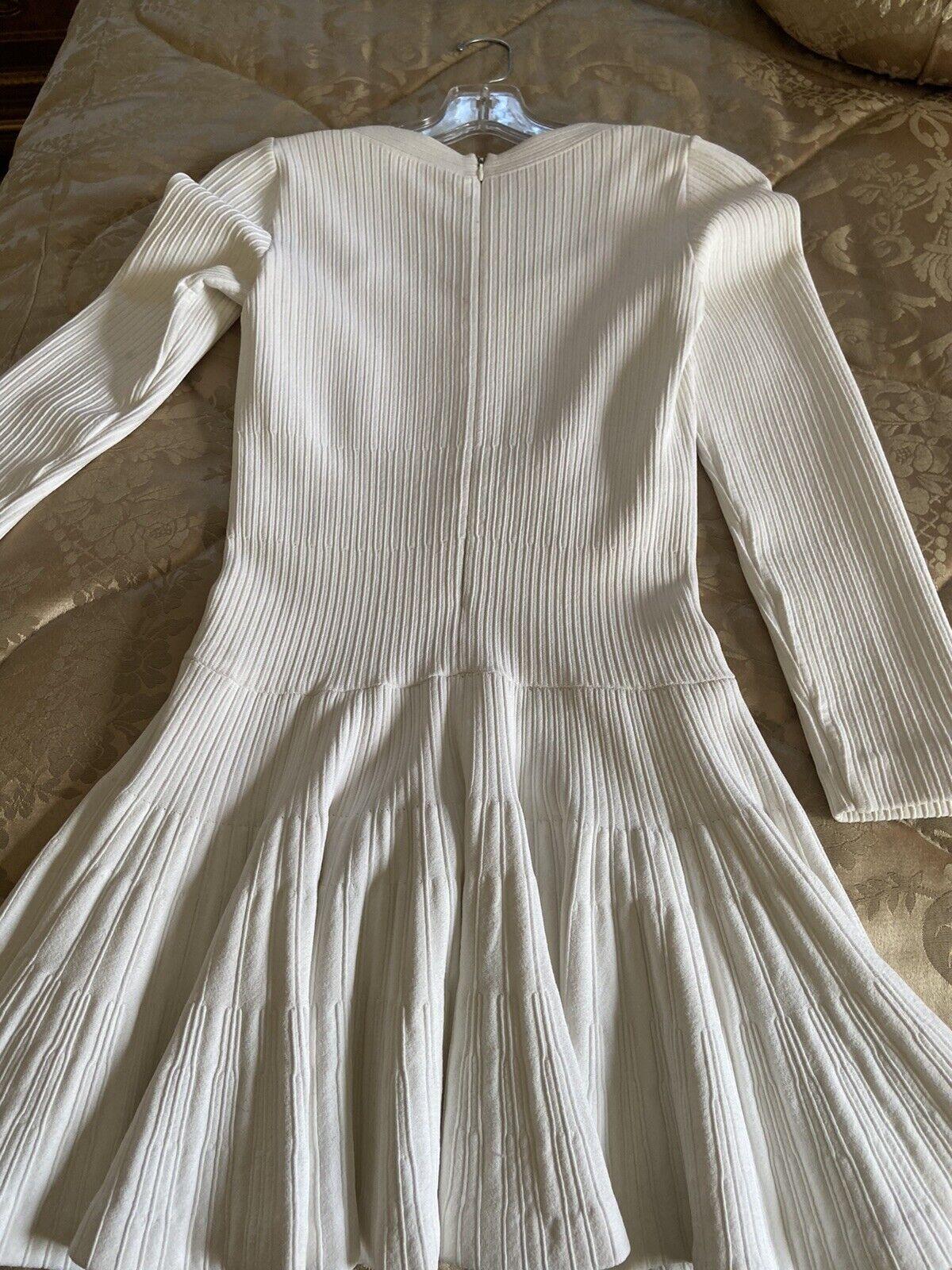 Azzedine Alaia White Long Sleeve Top Blouse Dress… - image 9