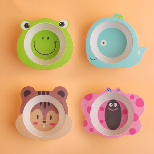 Baby Bowl Cartoon Tableware Feeding Plate Bamboo Fiber Kids Dish Cutlery Newly